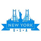 Vinilo New York Azul Claro Medida M