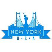 Vinilo New York Azul Claro Medida G