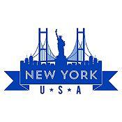 Vinilo New York Azul Medio Medida P