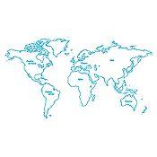 Vinilo Mapamundi continentes Azul Claro