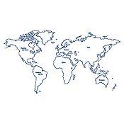 Vinilo Mapamundi continentes Azul Oscuro