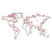 Vinilo Mapamundi Continentes Rojo Medida G