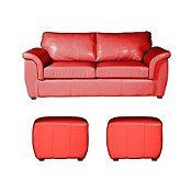 Sofá 3 + 2 Puff Rojo