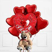 Bouquet Amor y Oso Hug Me | 9 piezas