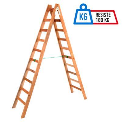 Escalera tijera madera 10 pasos i forest 75108 for Escalera de madera 5 pasos