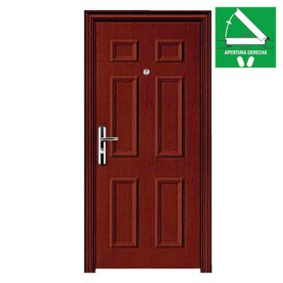 Puerta de seguridad 6 tableros marrón 90 x 200 x 10 cm derecha