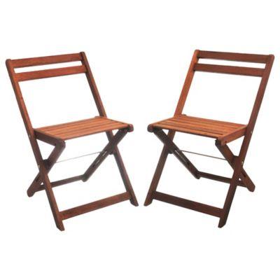Pack de 2 sillas de jardín Peruti de madera marrón